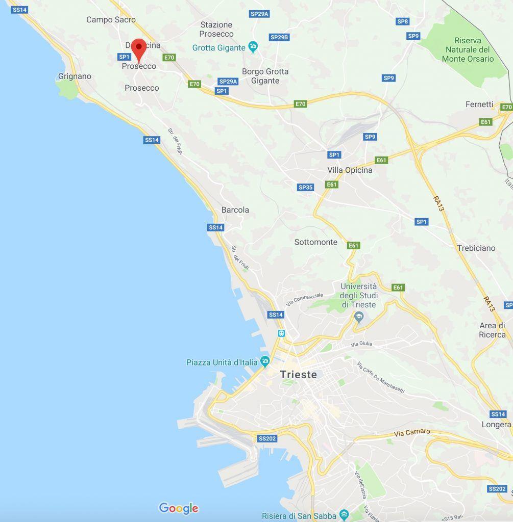 Map of Prosecco near trieste