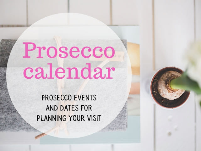 Prosecco calendar overlay on a desk with a plant